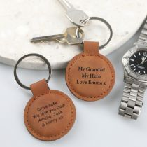 """Personalised Engraved Father's Day """"My Grandad My Hero"""" Leatherette Keyring Present"""