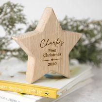 Personalised Engraved Wooden Star Keepsake First Christmas Gift