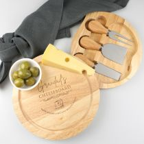 Custom designed Engraved Father's Day Engraved Round chopping board with cheese knifes Set Present