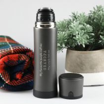 Personalised Engraved Christmas Grey Stainless Steel Thermos Flask Gift