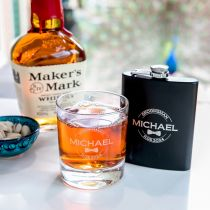 Personalised Gift Boxed Bridal Party Engraved Round Scotch Glass and Black 7oz Hip Flask Present
