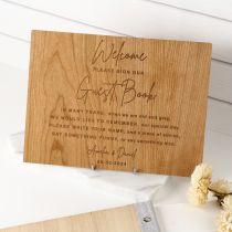 Custom design engraved wedding reception sign guest book
