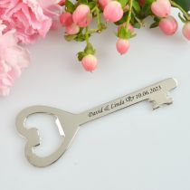 Engraved Silver Heart Key Bottle Opener For Wedding Favours
