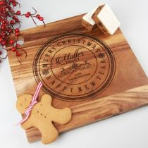 Personalised Engraved Square Wooden Christmas Cheese, Serving Chopping Board Present