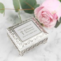 Personalised Engraved Christening, Baptism, Naming Day Silver Jewellery Box Present