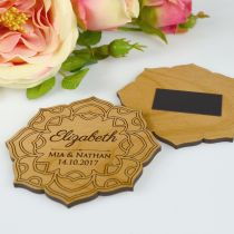 Personalised Engraved Wooden Flower Wedding Reception Placecard with Magnet