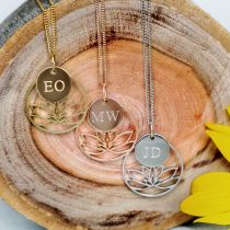 Customised Gold, Rose Gold, Silver Lotus Necklace with Engraved Initial Pendant Mother's Day Present