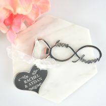 Infinity Bottle Opener with Engraved Personalised Acrylic Silver Gift Tag Favour