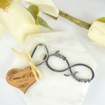 Infinity Bottle Opener with Custom Designed Engraved Wooden Gift Tag Wedding Favours