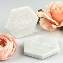Custom designed engraved white hexagon guest names place card marble coaster favour