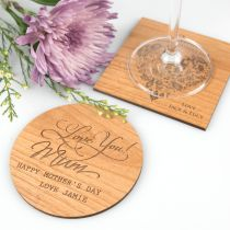 Personalised Engraved Mother's Day Wooden Coasters Present