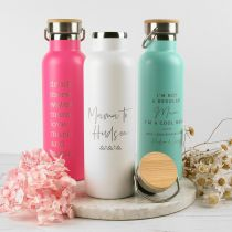 Personalised Engraved Stainless Steel Insulated Mother's Day Pink, White and Aqua Drink Bottle Present