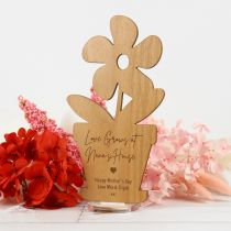 Personalised Mother's Day Engraved Wooden Pot Plant Plaque with Stand