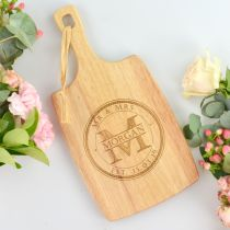 Personalised engraved Mr & Mrs Surname Bride and Groom wedding cheese chopping paddle board gift