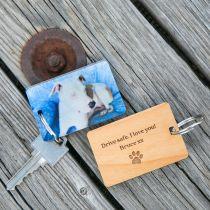Personalised Engraved Photo Printed Pet Wooden Keyring Birthday Present
