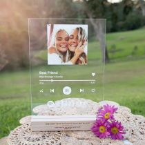 Personalised Printed and Engraved A4 Acrylic Spotify Song Code Plaque with Engraved Wooden Base Birthday Present
