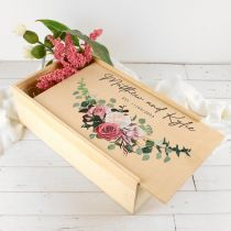 Personalised Colour Printed Natural Pine Wedding Keepsake Box Present