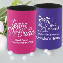 Personalised Printed Hens Party Pink & Purple Stubby Holders