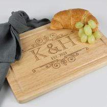 Personalised Engraved Wooden Wedding Cheese Chopping Serving Board Gift