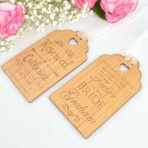 Custom designed engraved wooden ceremony reservation seat sign