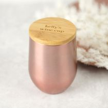 Personalised Rose Gold 360mL Wine Sipper with Engraved Bamboo Lid Christmas Gift