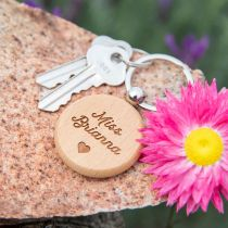 Personalised Engraved Round Wooden Keyring Teacher's Gift