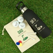 Personalised Engraved Sporty Dad Hamper - Engraved Drink Bottle, Golf ball, Tees & ball markers