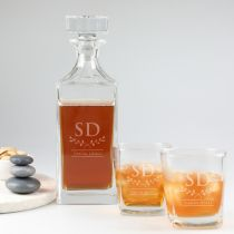 Personalised Engraved Father's Day Matching Decanter & Scotch Glasses Present