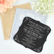 Personalised engraved royal style clear, frosted & black wedding invitations
