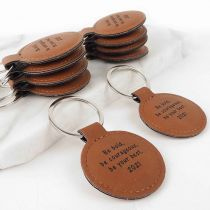 Engraved Student Graduation Tan Leatherette Keyrings Set of 10