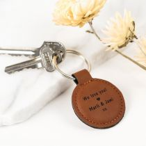 """Personalised Engraved Mother's Day """"We Love you"""" Round Tan Leatherette Keyring Present"""