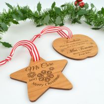 Personalised Engraved Wooden Teacher Christmas Decoration Present