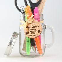 Personalised Engraved Wooden Teacher Gift tag on Mason Jar Present
