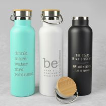 Personalised Engraved Pink, White & Black Teacher's Insulated Water Bottle Christmas Present