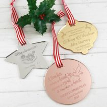 Personalised Laser Cut & Engraved Acrylic Christmas Teacher's Silver Star, Rose Gold Circle and Gold Bell XMAS Decoration Present