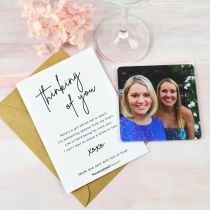 Personalised Photo Printed Thinking of You Card with Photo Printed Acrylic Coaster