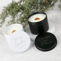 Personalised Engraved Christmas Wood Wick Soy Candle Tin Present