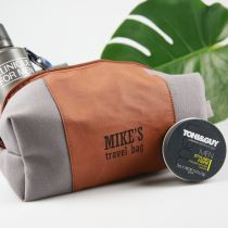 Personalised Engraved Birthday Leather Toiletries Bag Gift