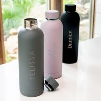 Customised Engraved Name Black, Mauve and Charcoal 500ml Stainless Steel Water Bottle Homeware