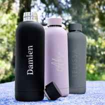 Personalised Engraved Name Black, Purple and Grey 500ml Stainless Steel Water Bottle Birthday Gift