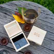 Personalised Engraved Wooden Gift Boxed Whiskey Stone Set of 6