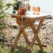 Custom Designed Engraved Wooden collapsible Picnic Table with complimentary engraved twin wine Glasses Valentine's Present