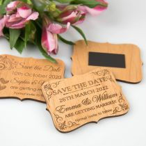 Personalised Engraved Wooden Royal Style Wedding Save the Date