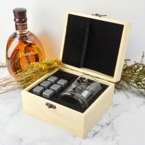 Personalised Wooden Gift Boxed Scotch Glass and Whiskey Stone Set Birthday Present