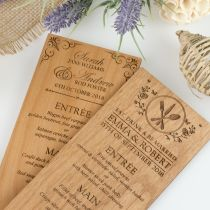 Custom Designed Laser  Engraved Wooden Wedding Reception Menus