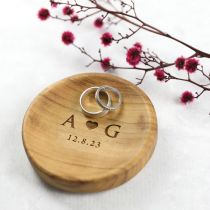 Personalised Engraved Wooden Wedding Ring Dish