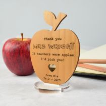 Personalised Engraved Wooden Teacher Apple Christmas Thank you Plaque with Stand