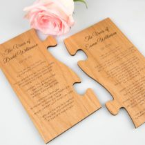 Personalised Engraved Wooden Puzzle Piece Wedding Vows