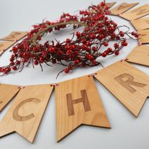 Personalised Engraved Christmas Honey Brown Wood Bunting Decoration
